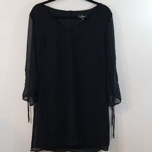 Lulu's Black Chiffon Long Sleeve Shift Dress